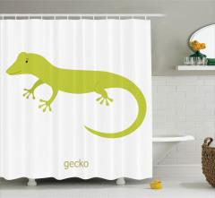 Yeşil Kertenkele Desenli Duş Perdesi Hayvan