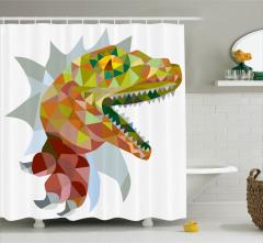 Dinozor Desenli Duş Perdesi Rengarenk Trend