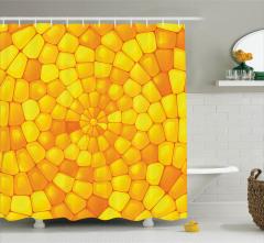 Sarı Mozaik Desenli Duş Perdesi Kristal Cam