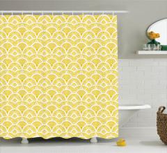 Sarı Nostaljik Desenli Duş Perdesi Süsleme
