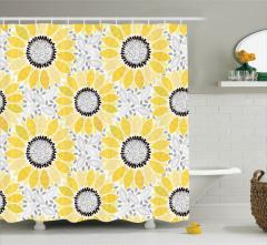 Ayçiçeği Desenli Duş Perdesi Sarı Şık Tasarım