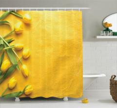 Sarı Laleler Temalı Duş Perdesi Çeyizlik Şık