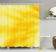 Gün Doğumu Temalı Duş Perdesi Sarı Dalga Işık