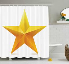 Parlak Yıldız Desenli Duş Perdesi Beyaz Sarı