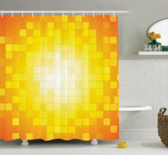 Kare Temalı Duş Perdesi Sarı Turuncu Geometrik