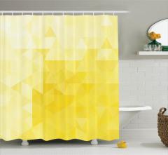 Sarı Üçgen Desenli Duş Perdesi Geometrik Şık