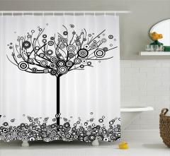 Siyah Beyaz Ağaç Desenli Duş Perdesi Yuvarlak
