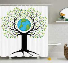 Toprak Ana Temalı Duş Perdesi Yeşil Ağaç Dünya