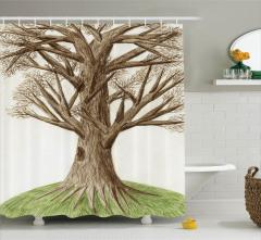 Ağaç Temalı Duş Perdesi Yeşil Kahverengi Doğa
