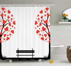 Aşk Ağacı Temalı Duş Perdesi Kırmızı Çeyizlik