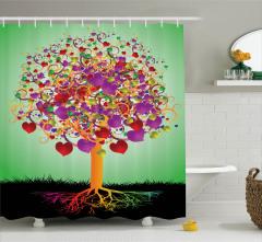 Kalpli Aşk Ağacı Temalı Duş Perdesi Rengarenk