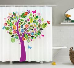 Rengarenk Ağaç Temalı Duş Perdesi Şık Tasarım