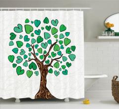Aşıklar İçin Duş Perdesi Yeşil Kalpli Ağaç