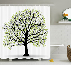 Ağaç Desenli Duş Perdesi Yeşil Şık Tasarım