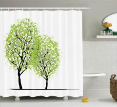 Bahar Temalı Duş Perdesi Yeşil Ağaç Desenli