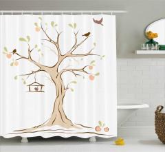 Ağaç ve Kuş Desenli Duş Perdesi Şık Tasarım
