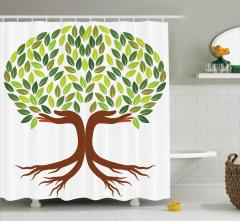 Yapraklı Ağaç Temalı Duş Perdesi Kahverengi