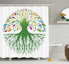 Rengarenk Ağaç Desenli Duş Perdesi Doğa Temalı