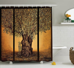 Hayat Ağacı Temalı Duş Perdesi Kahverengi