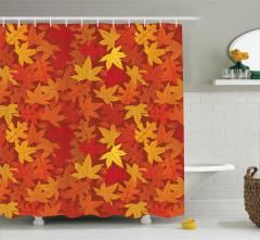 Turuncu Duş Perdesi Sonbahar Dökülen Yapraklar Sarı
