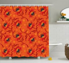 Turuncu Duş Perdesi Romantik Çiçek Desenli Çeyizlik
