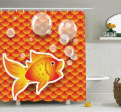 Turuncu Duş Perdesi Sevimli Süs Balığı Desenli Sarı