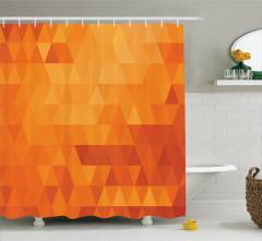 Turuncu Duş Perdesi Mozaik Görünümlü Retro Stil