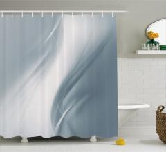 Gri Duş Perdesi Dalga Desenli Şık Tasarım