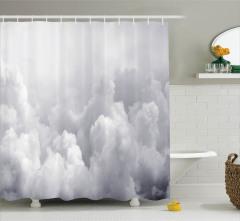 Gökyüzü Temalı Duş Perdesi Gri Bulutlar Yağmur