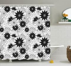 Çiçek Desenli Duş Perdesi Siyah Beyaz Çeyizlik