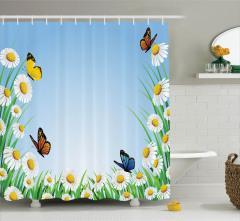 Bahar Temalı Duş Perdesi Papatyalar ve Kelebekler