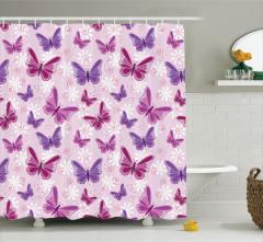 Mor Duş Perdesi Kelebek Desenleri Pembe Şık Tasarım