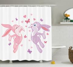 Çocuklar için Duş Perdesi Tavşanlar ve Kelebekler