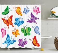 Çocuklar için Duş Perdesi Rengarenk Kelebek Desenli