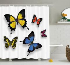 Rengarenk Kelebek Desenli Duş Perdesi Sarı Turuncu