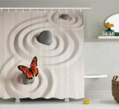 Bej Duş Perdesi Turuncu Kelebek Desenli Şık Tasarım