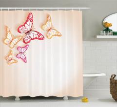 Bej Duş Perdesi Rengarenk Kelebek Desenli Şık Trend