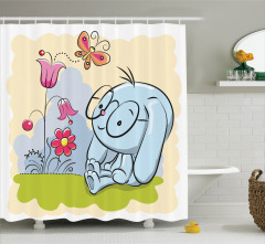 Çocuklar için Duş Perdesi Tavşan Laleler ve Kelebek