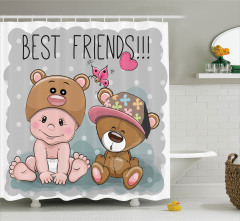 Çocuklar için Duş Perdesi Dostluk Temalı Bebek Ayı