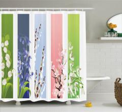 Rengarenk Çiçek Desenli Duş Perdesi Şeritli