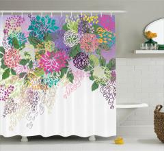 Rengarenk Çiçek Desenli Duş Perdesi Yeşil Fon