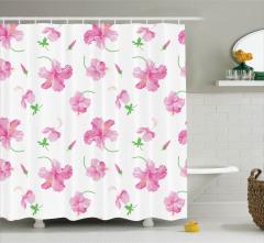 Pembe Çiçek Desenli Duş Perdesi Şık Tasarım