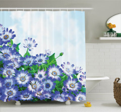 Mavi Çiçek ve Gökyüzü Desenli Duş Perdesi Şık