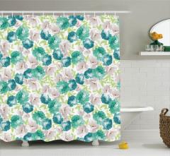 Mavi ve Bej Çiçek Desenli Duş Perdesi Beyaz