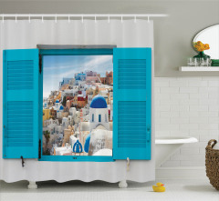 Antik Yunan Mimarisi Temalı Duş Perdesi Mavi
