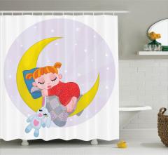 Ay ve Uyuyan Güzel Desenli Duş Perdesi Çocuk