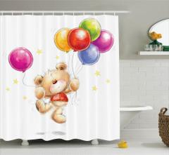 Sevimli Ayı ve Balon Desenli Duş Perdesi Çocuk