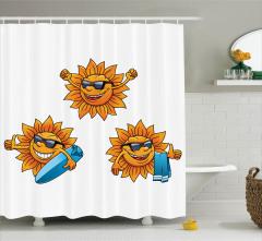 Güneş ve Sörf Desenli Duş Perdesi Çocuk İçin