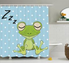 Uyuyan Kurbağa Desenli Duş Perdesi Puantiyeli