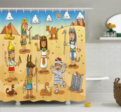 Mısır ve Piramit Desenli Duş Perdesi Çocuk